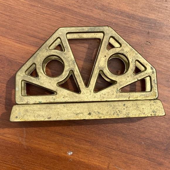 Vintage Solid Brass Letter Napkin Holder